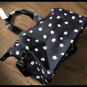 ALICE + OLIVIA-NWT Black Daisy Canvas Duffle Bag